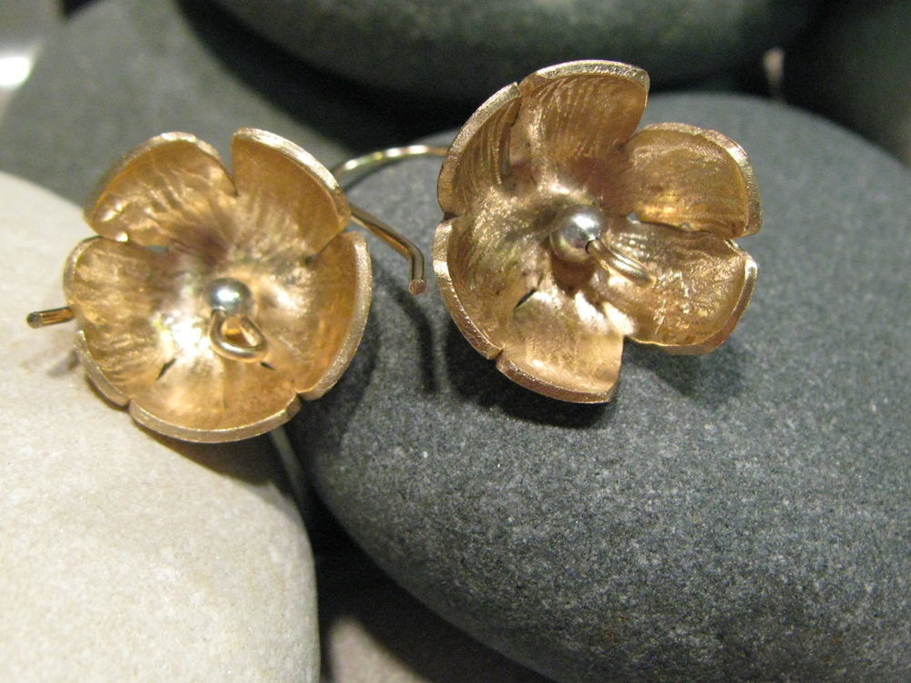 14k Gold & Bronze Carved Flower Earrings 2011