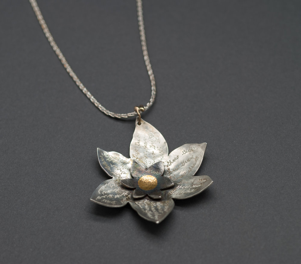 Double Lotus Pendant. Sterling, 24k, 14k 2012/2016