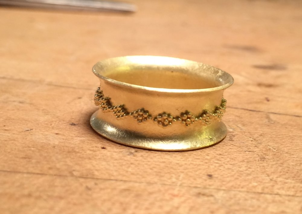 18K Granulated Ring 2014. Made at Revere with Kent Raible.