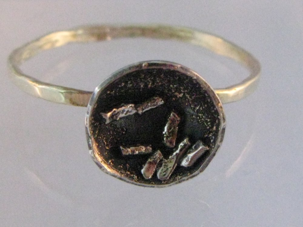 Lotus Ring. 14k Green Gold, Sterling Silver, 22k Gold. 2012
