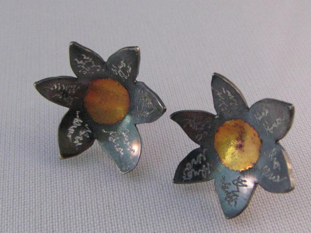 Keum Boo Flower Studs. Sterling, 24k, 14k 2012