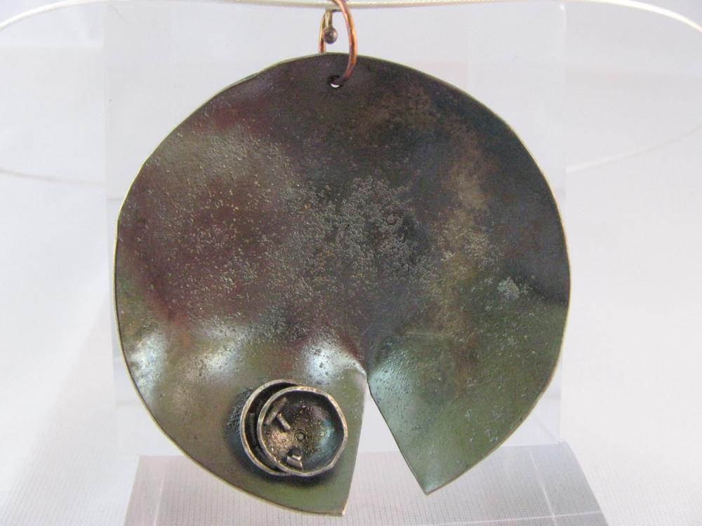 Lotus Pendant. Sterling, 14k, 22k, Diamond 2012