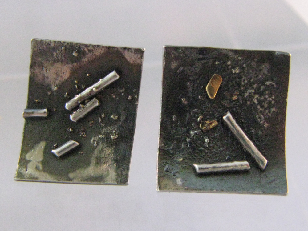 Rectangle Studs. Sterling Silver, 14k, 22k. 2012
