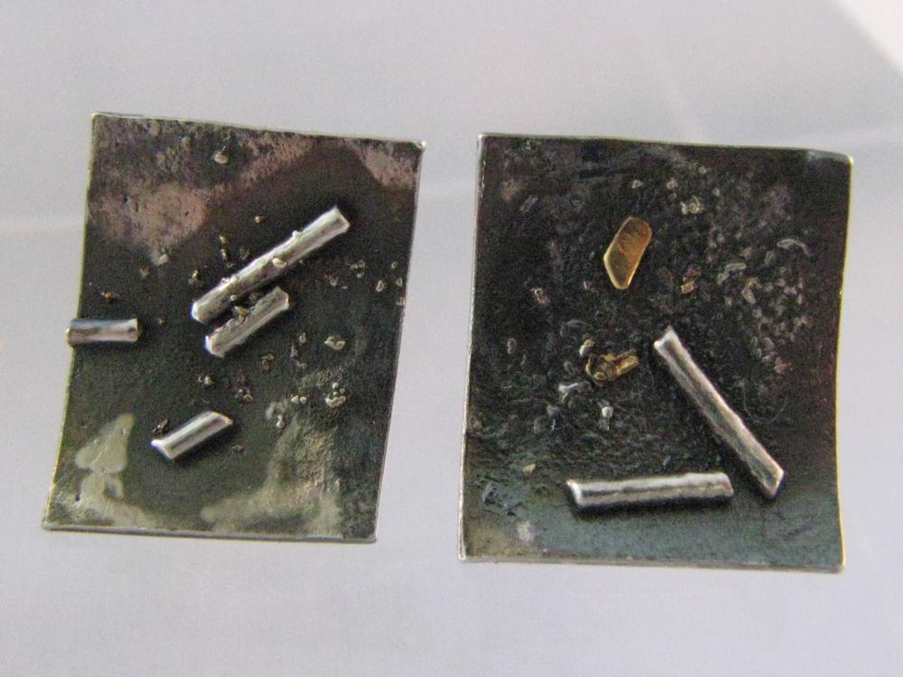 Rectangle Studs. Sterling Silver, 14k, 22k. 2012