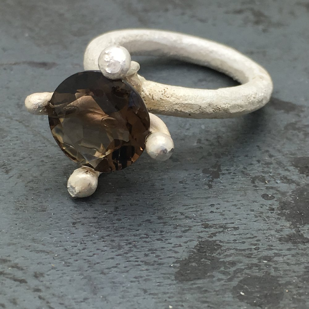 Oversized Rustic Sterling Silver & Smoky Quartz Ring 2016