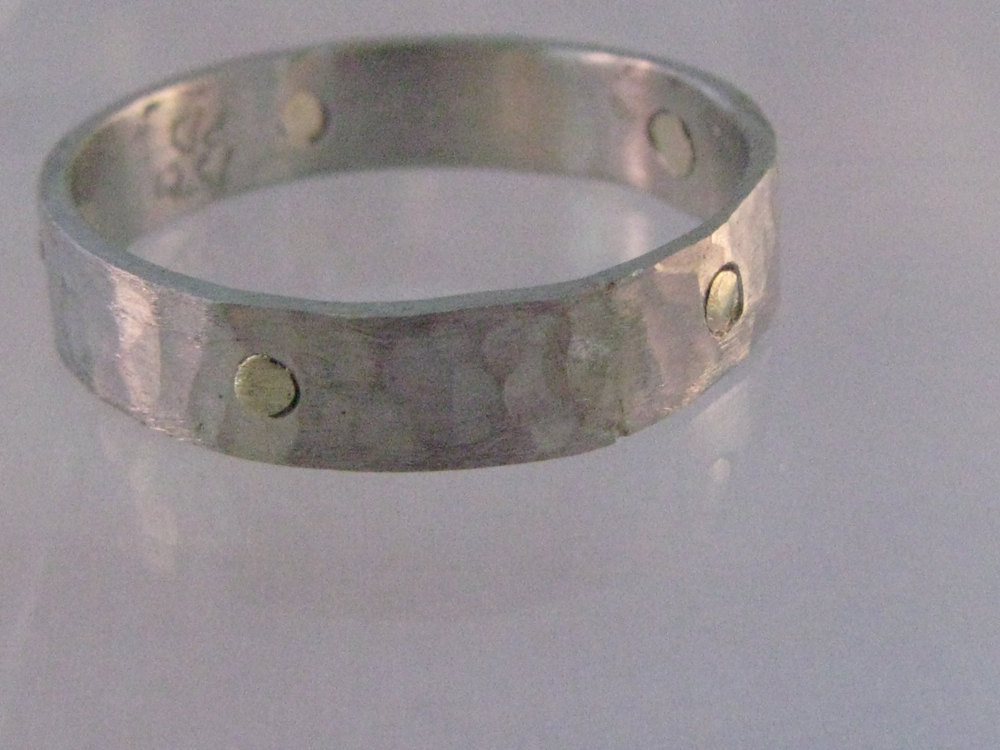 Palladium Ring with 14k Green Gold Rivets 2012