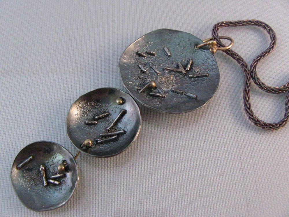 Lotus Pendant. Sterling Silver, 22k, 14k 2012