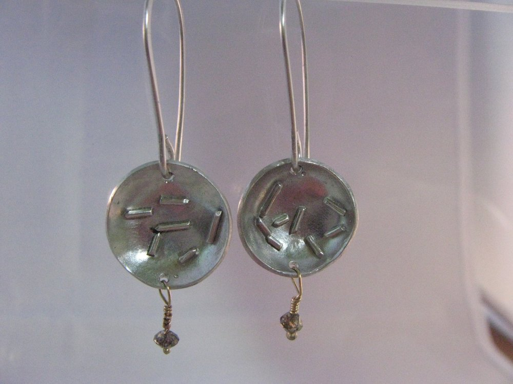 Disc Earrings, Sterling Silver, 14k, Brown Diamond 2012