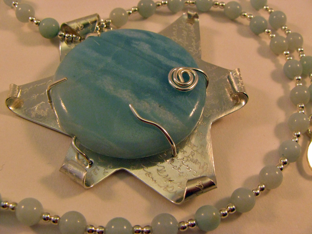 Amazonite Flower Pendant. Engraved. 2006/2012