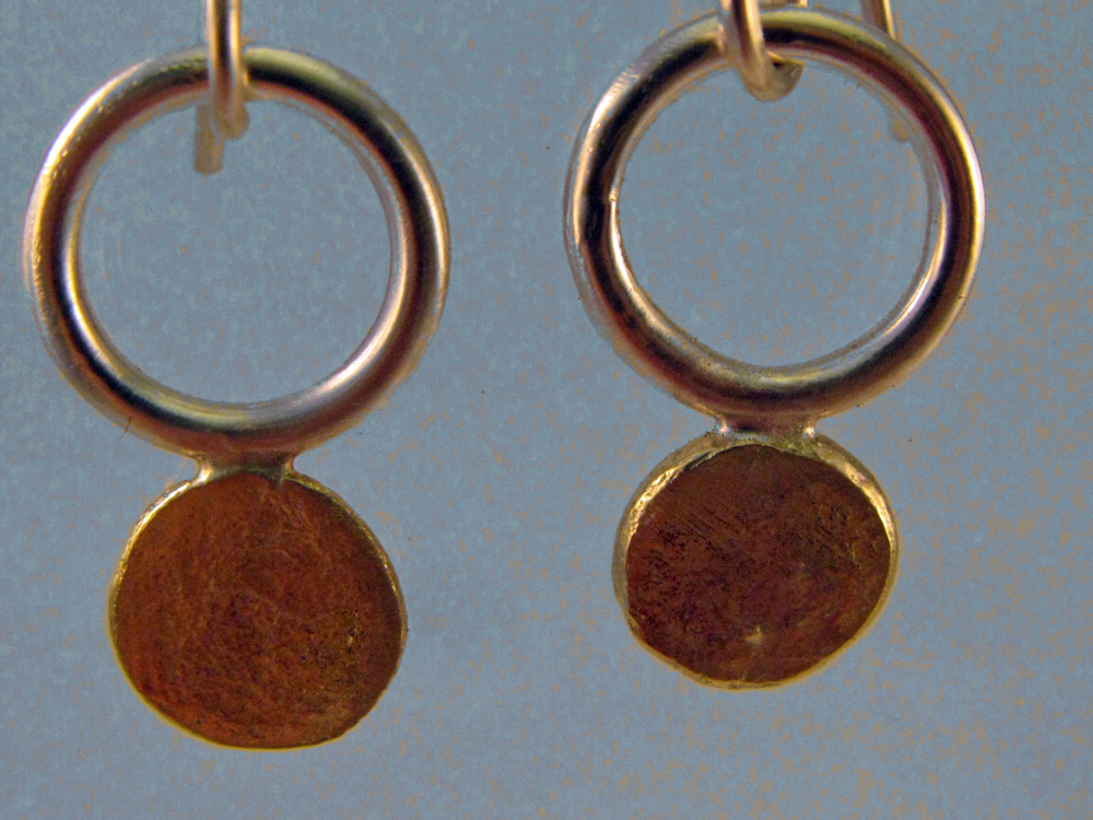 Sun Disc Earrings. Sterling & 18k. 2013
