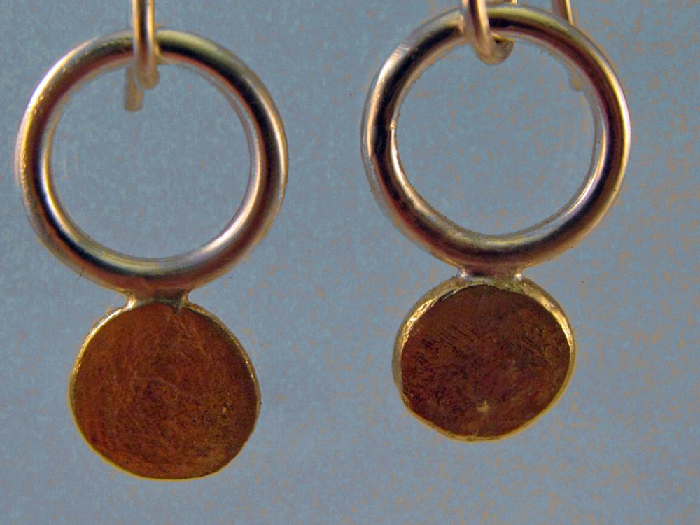 Sun Disc Earrings. Sterling & 18k. 2013