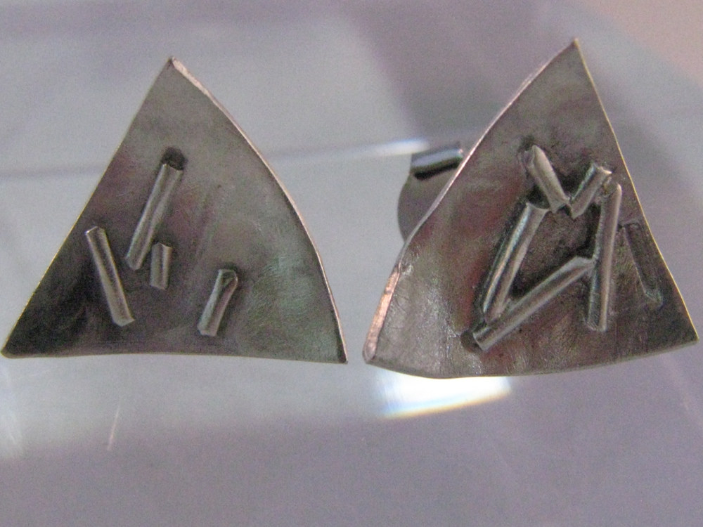 Triangle Studs. Sterling Silver, 14k 2012