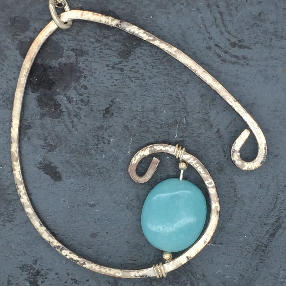 Engraved Shakespeare Sonnet Pendant. Sterling & Amazonite. 2010