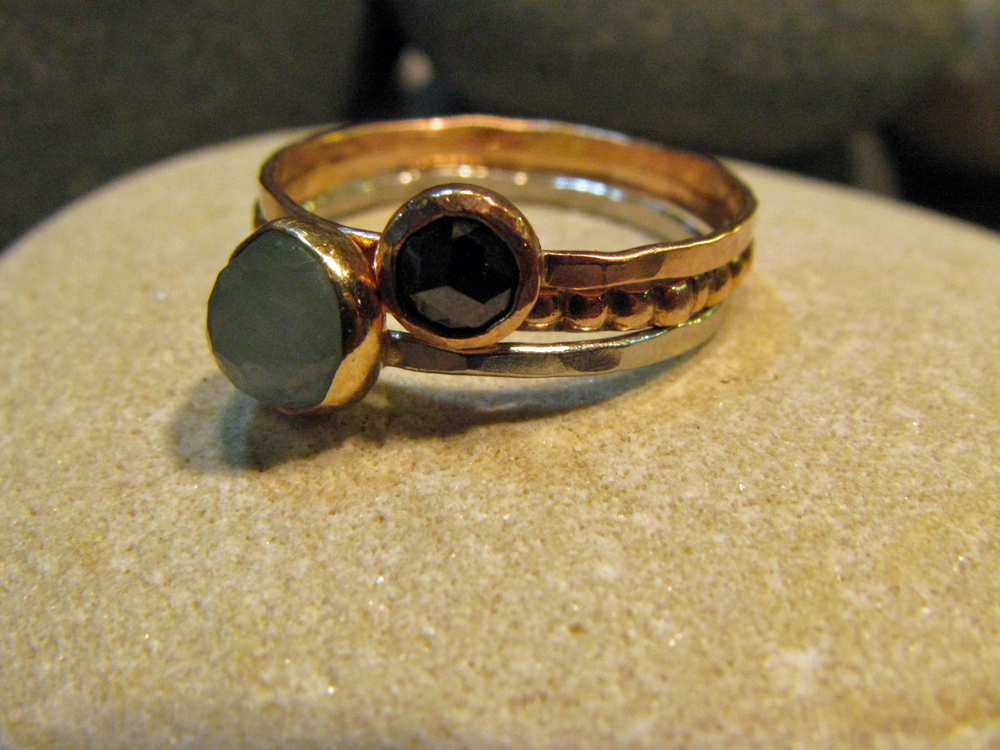 Platinum, 14k Rose Gold, 14k Yellow Gold Ring Set with Black Diamond & Aquamarine 2012