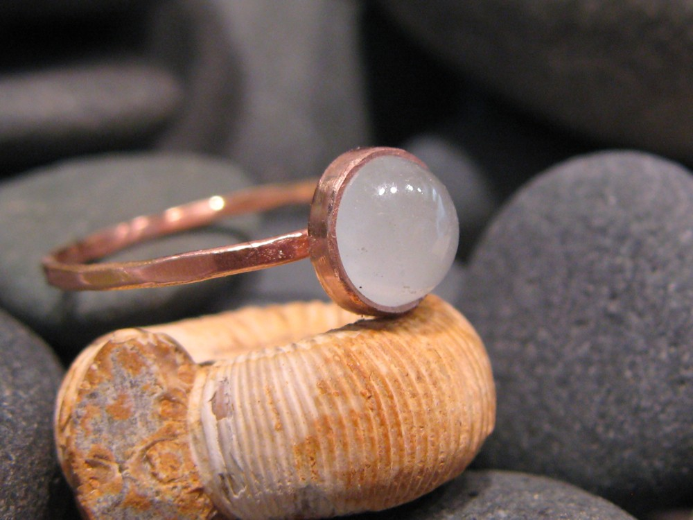 14k Rose Gold Ring with Milky Aquamarine 2012