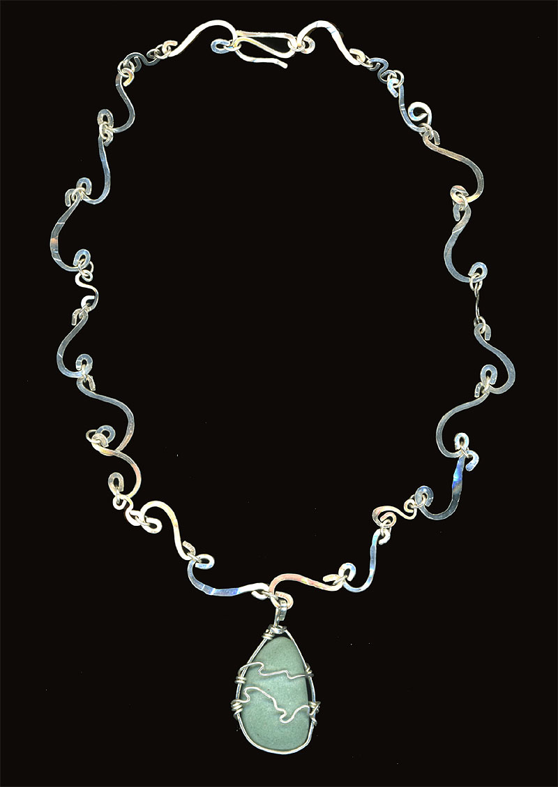 Ocean Waves Necklace. Sterling & River Rock 2006