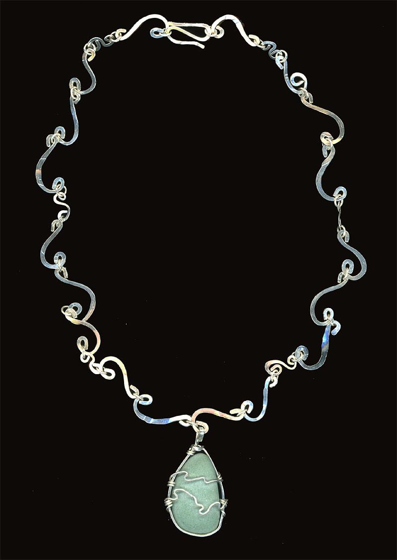 Ocean Waves Necklace. Sterling & River Rock 2006