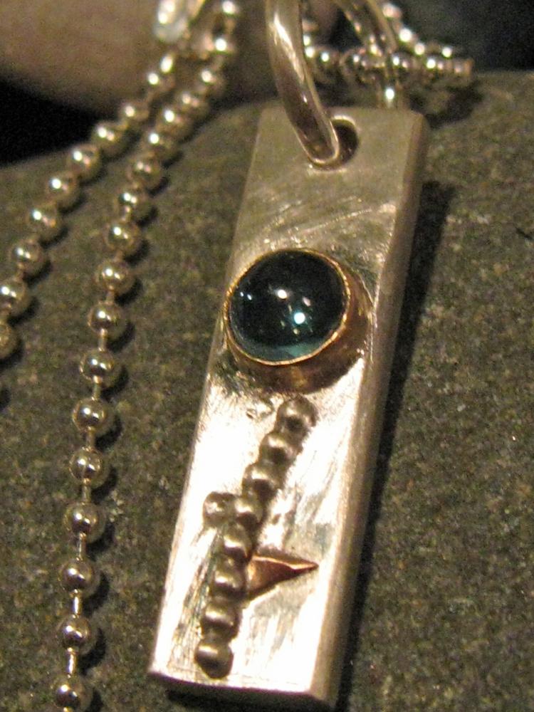 Flower Pendant. Sterling, 14k Gold, Blue Topaz 2009