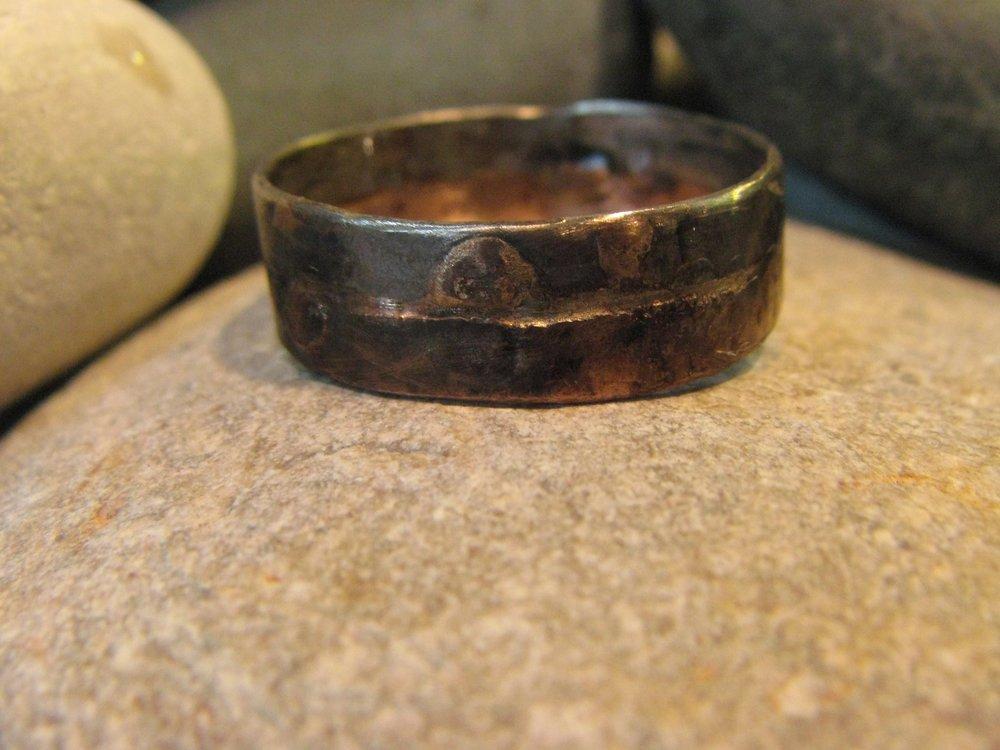 Palladium & 14k Rose Gold Very Rugged Ring. 2012