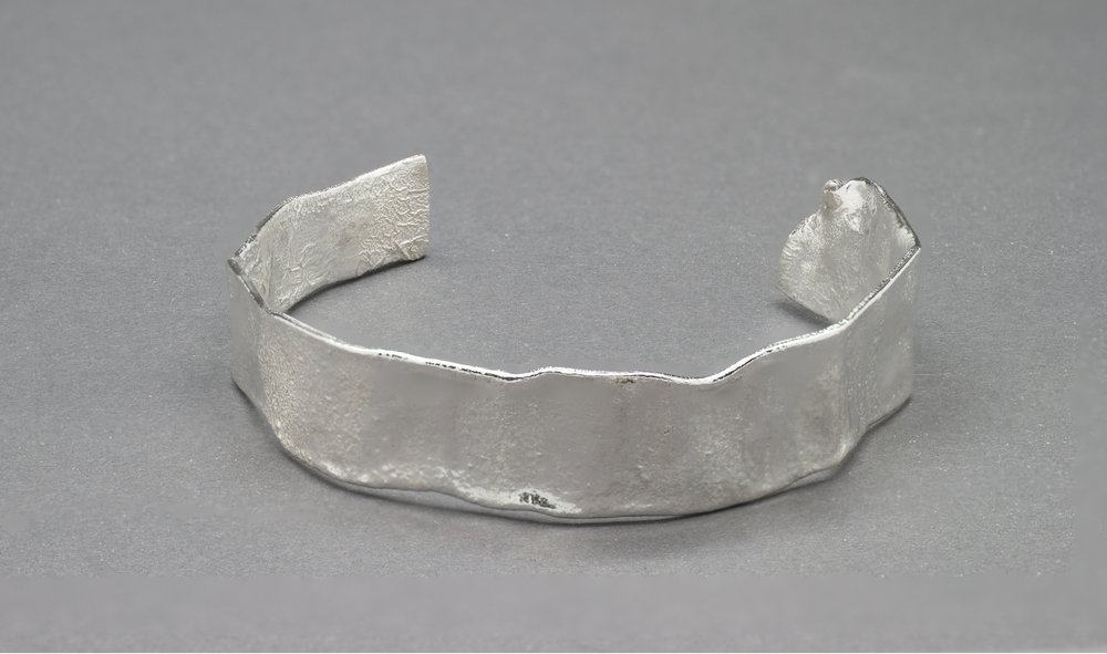 Reticulated Silver Cuff Bracelet. Can be Sized to Fit.  Available at Manika Jewelry  Manika Jewelry 645 Market St. San Francisco CA 94105 415-399-1990 www.manikajewelry.com
