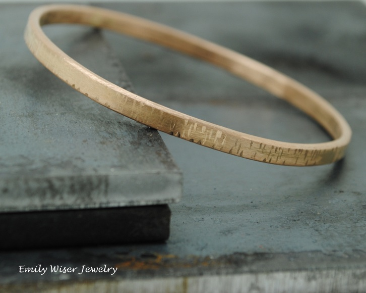 18k Rose Gold Hammered Bangle, 2014.