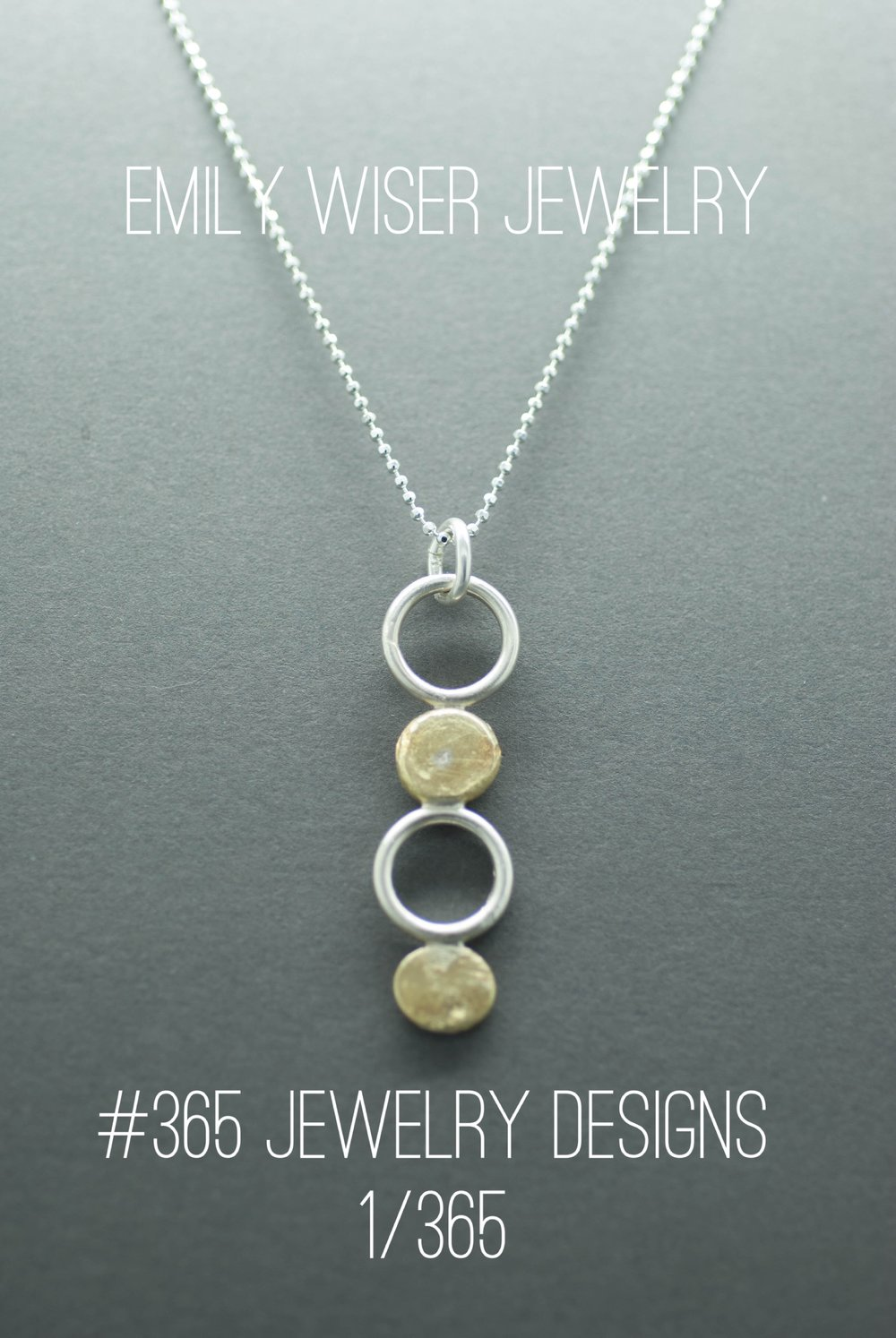Sun Disc Pendant, 18k and Sterling Silver