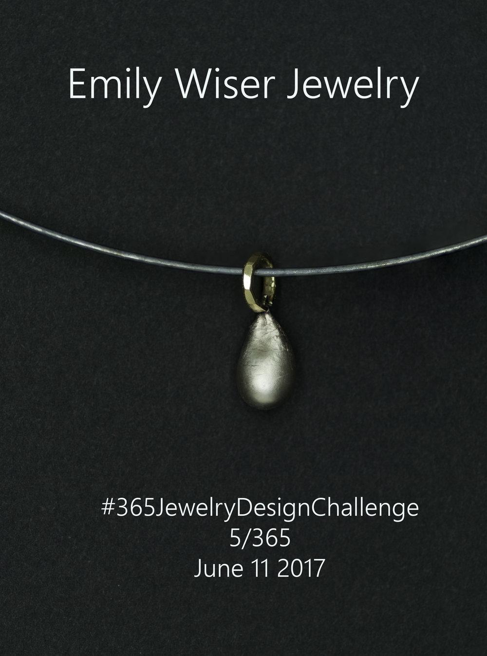 Silver Droplet Pendant. Sterling Silver & 18k. OOAK