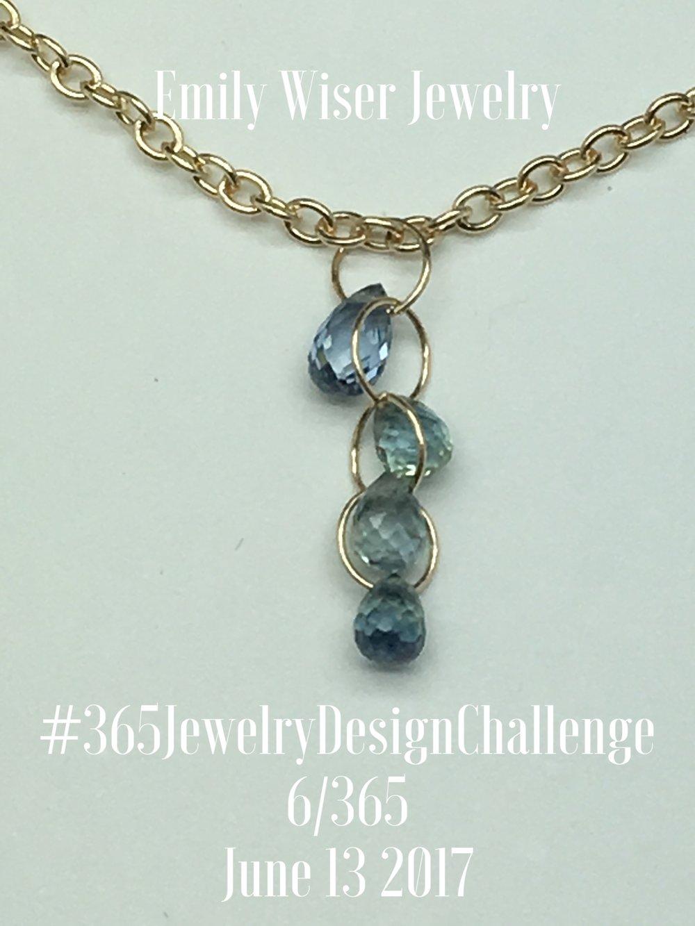Sapphire Briolette, 14k Gold Necklace