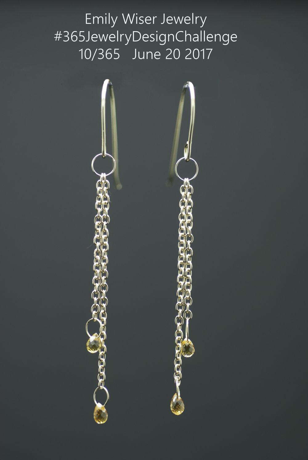 14k Gold, Yellow Sapphire Chain Earrings