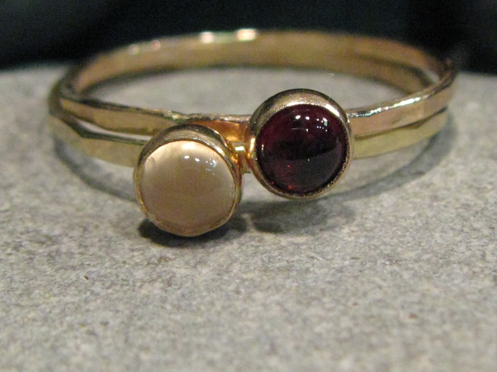 14k yellow gold, white moonstone, red garnet hammered stacking ring set
