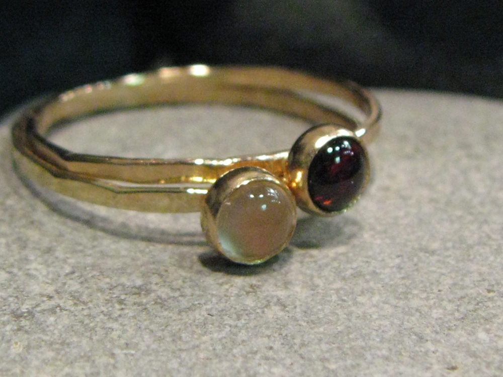 14k gold, white moonstone, garnet stack ring set. Snow White & Rose Red.