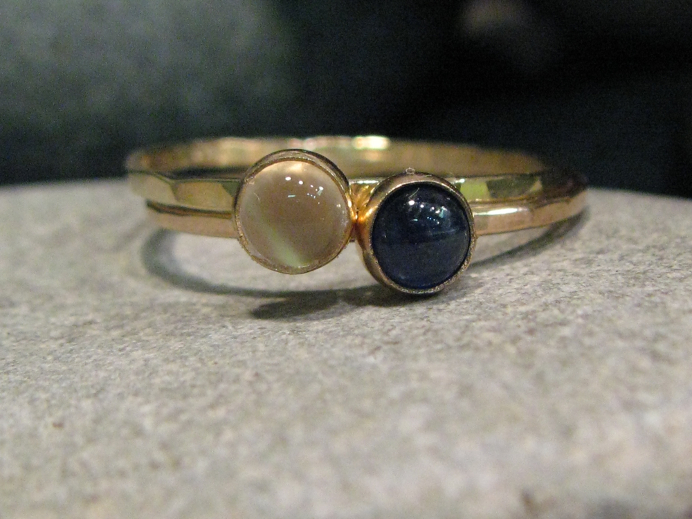14k yellow gold, white moonstone, blue sapphire hammered stacking ring set