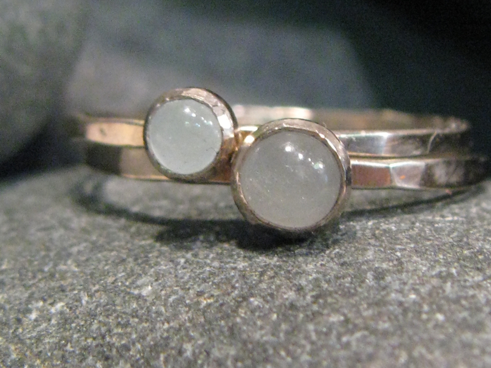 14k white gold, milky aquamarine stacking ring set