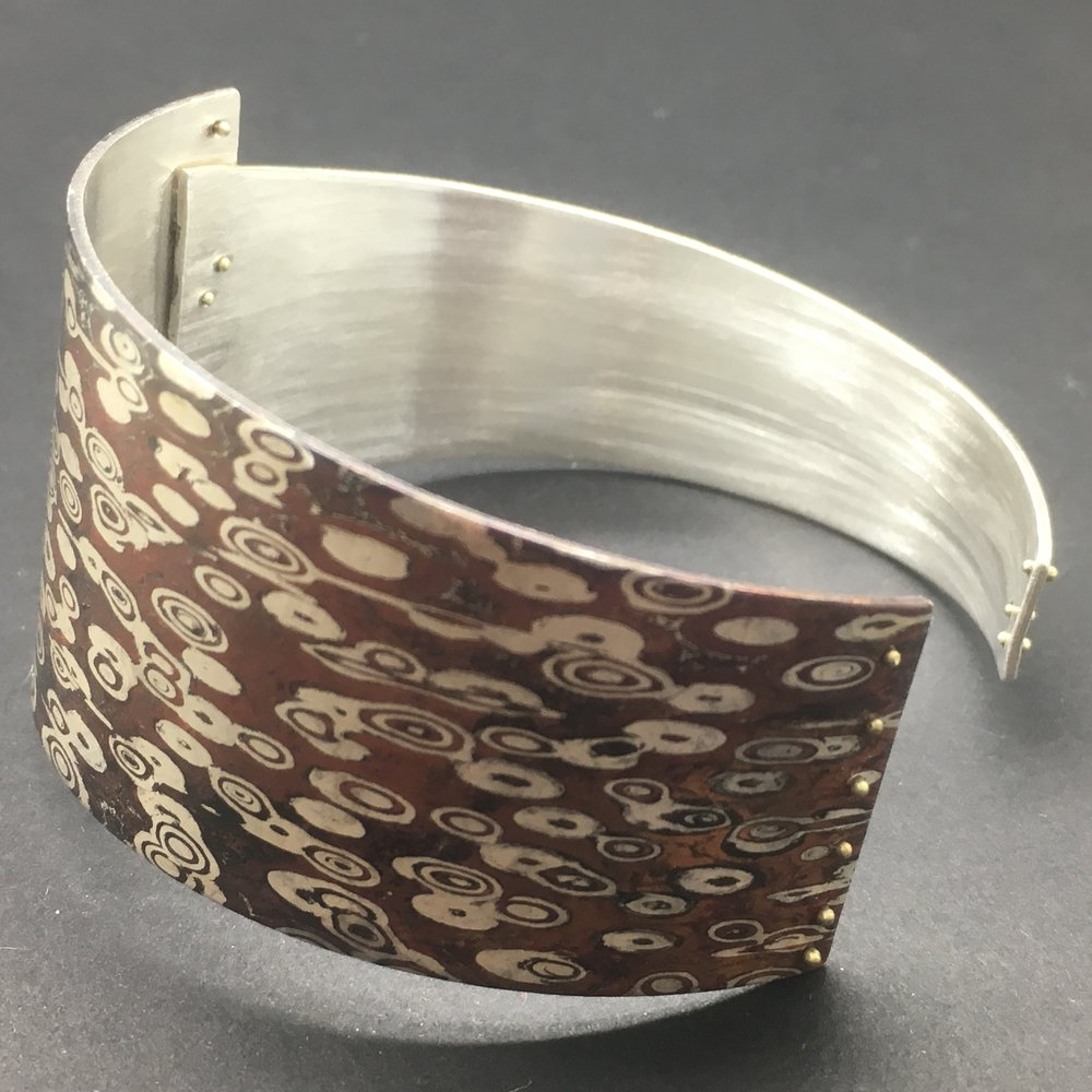Mokume Gane Cuff Bracelet. Sterling Silver, Copper, 14k Green Gold. October 2017