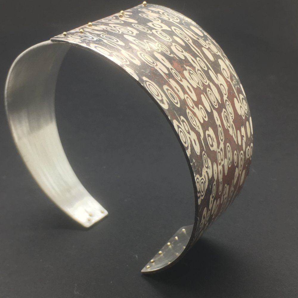Mokume Gane Cuff. Sterling Silver, Copper, 14k Green Gold. October 2017