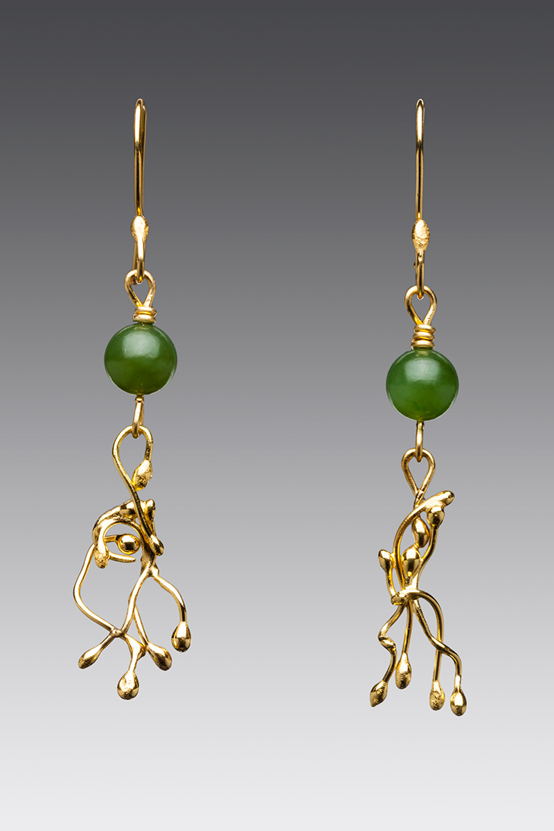 6mm nephrite jade beads and 22k gold vine dangle earrings.