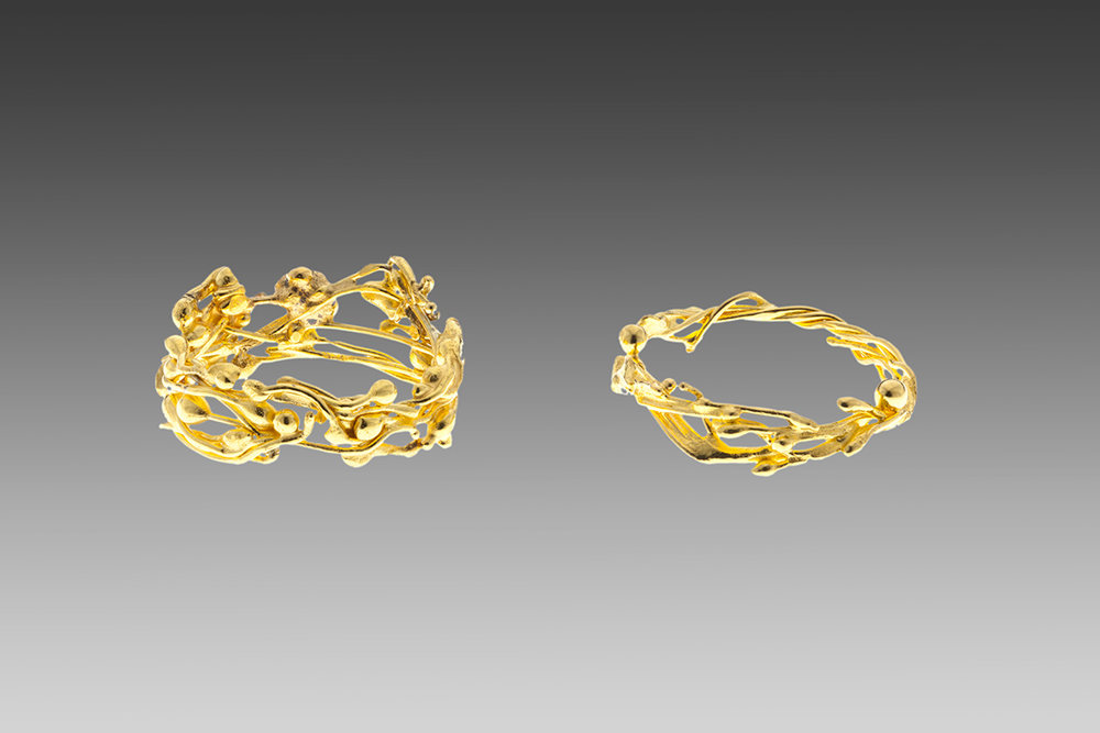 22k gold vine rings.