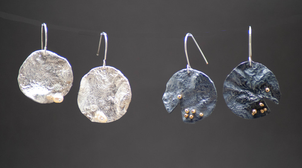 Large One-Inch Reticulated Silver Disc Earrings. Left: Cultured Freshwater Pearl $100. Right: Oxidized Sterling & 22k Rivets.