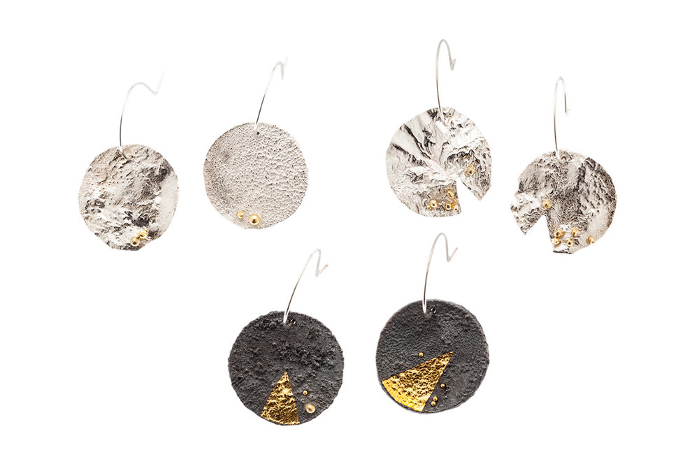 Large Reticulated Sterling Silver Disc Earrings. From Left Top: Reticulated Sterling Silver with 22k Rivets, Reticulated Sterling Silver with many 22k rivets (reworked into a different piece), Oxidized Sterling Silver with 22k rivets and 24k gold foil. 2018.