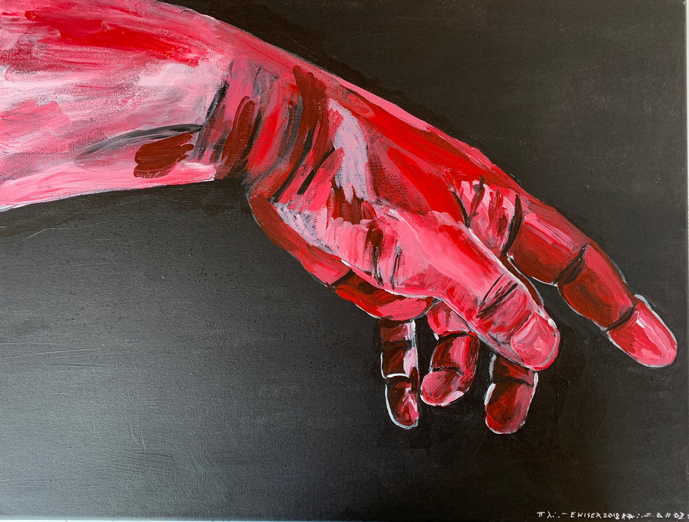 Giant Hand Pointing. Acrylic on Canvas. 18x24. 2018