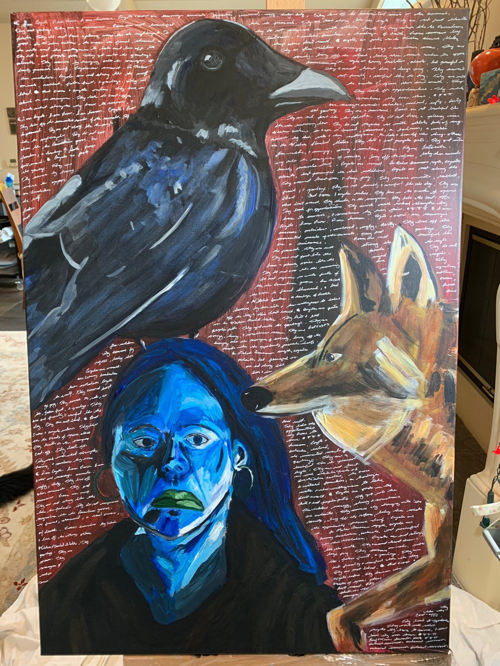 Self-Portrait - Coyote, Crow, and Woman. Acrylic on Canvas. 24x36. 2018