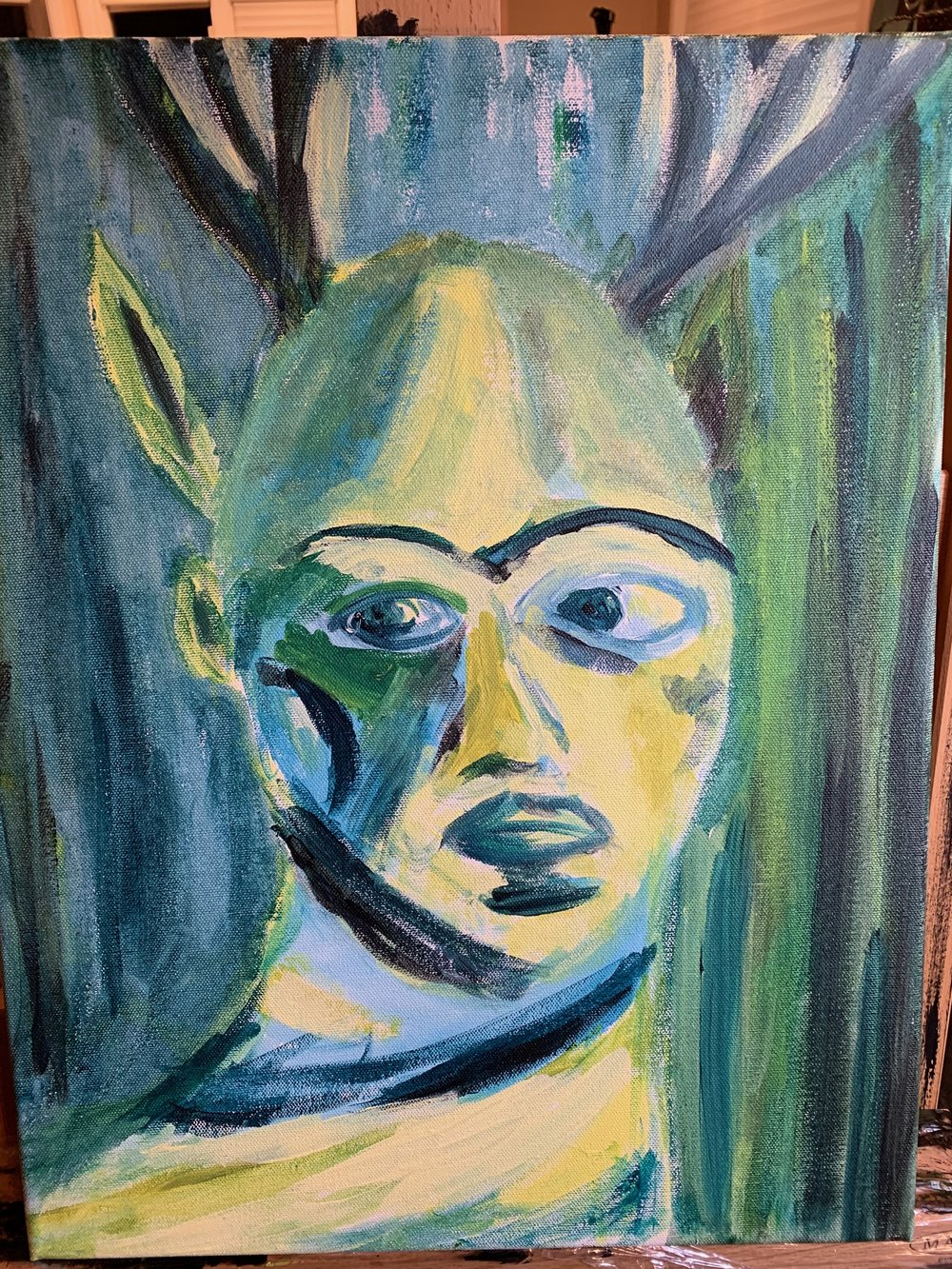 Self-Portrait as Frida Kahlo. Acrylic on Canvas. 11x18. 2018