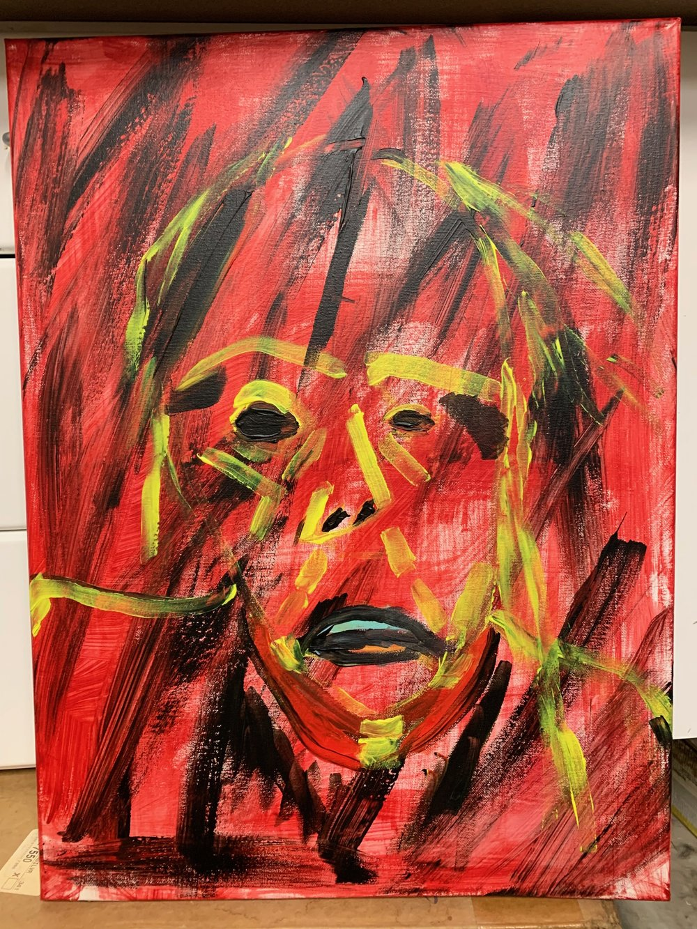 Red Self-Portrait. Acrylic on Canvas. 18x24. 2018