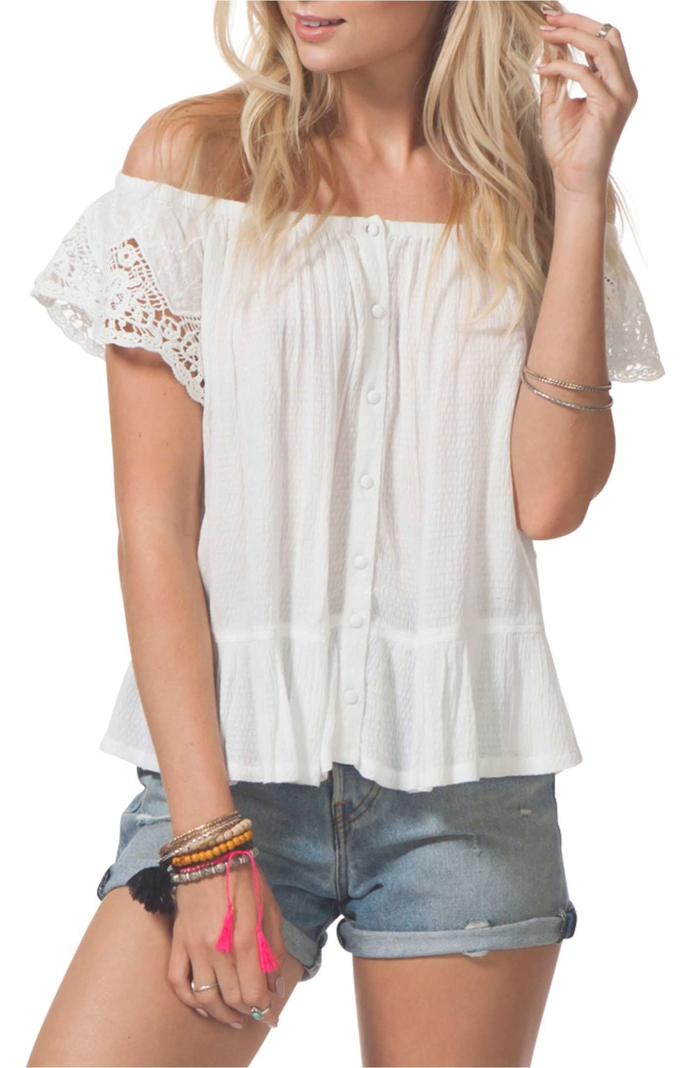 Cascade Off the Shoulder Top