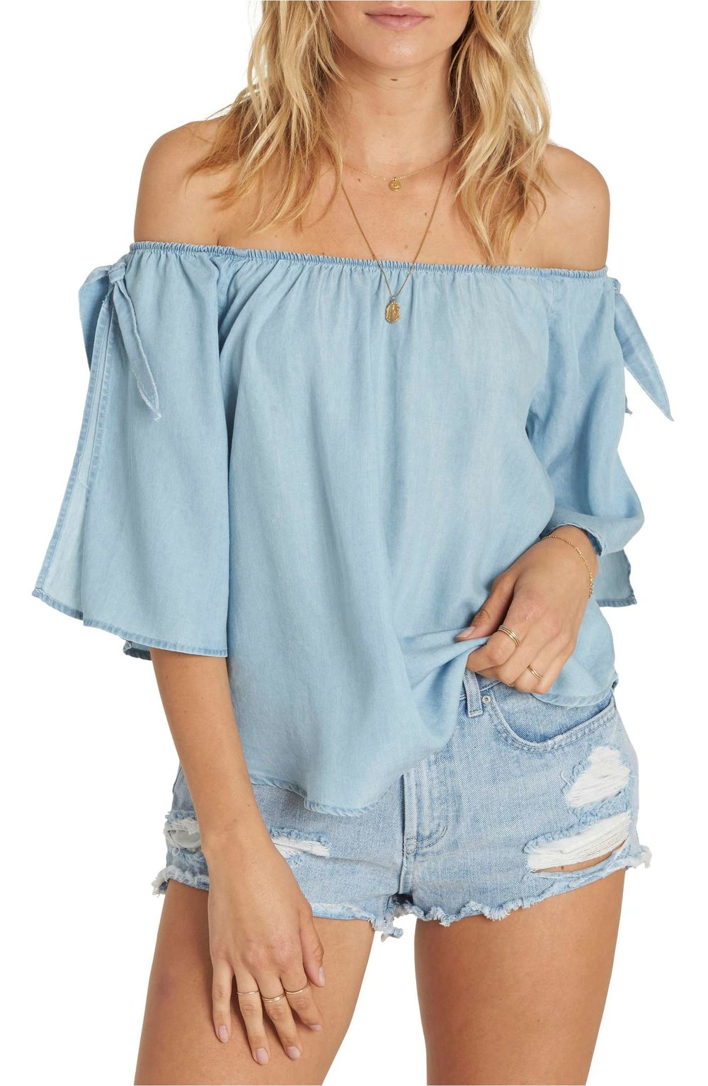 Blues Baby Chambray Off the Shoulder Top