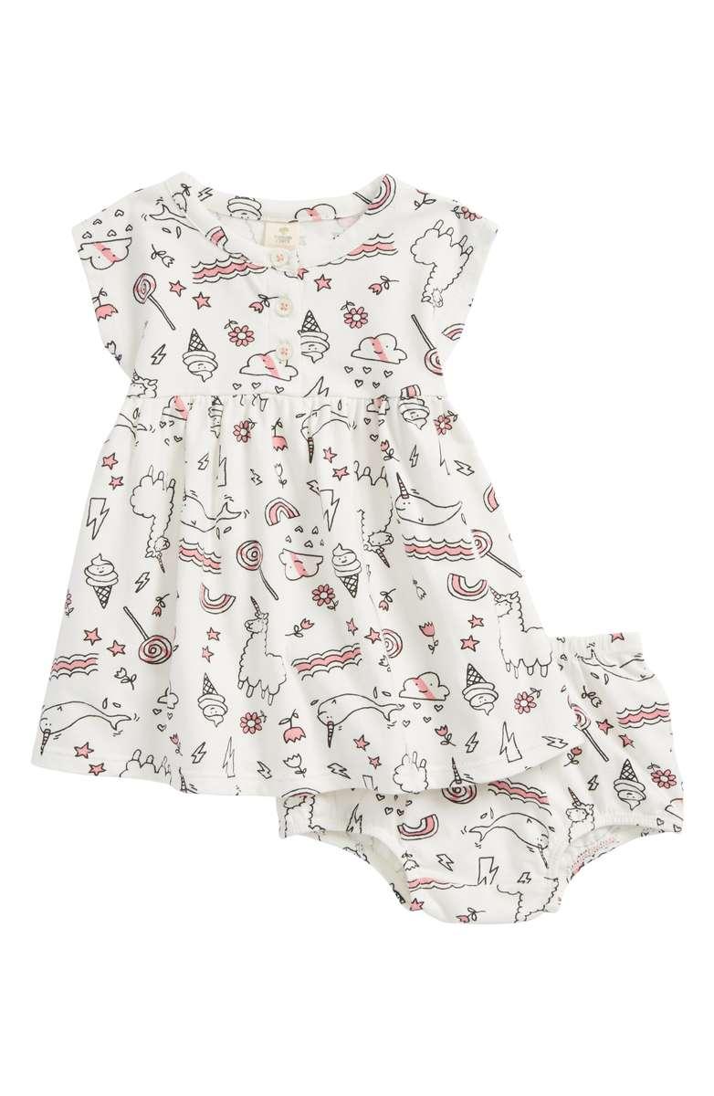 Tucker + Tate Essential Print Knit Dress in Ivory Egret Doodles