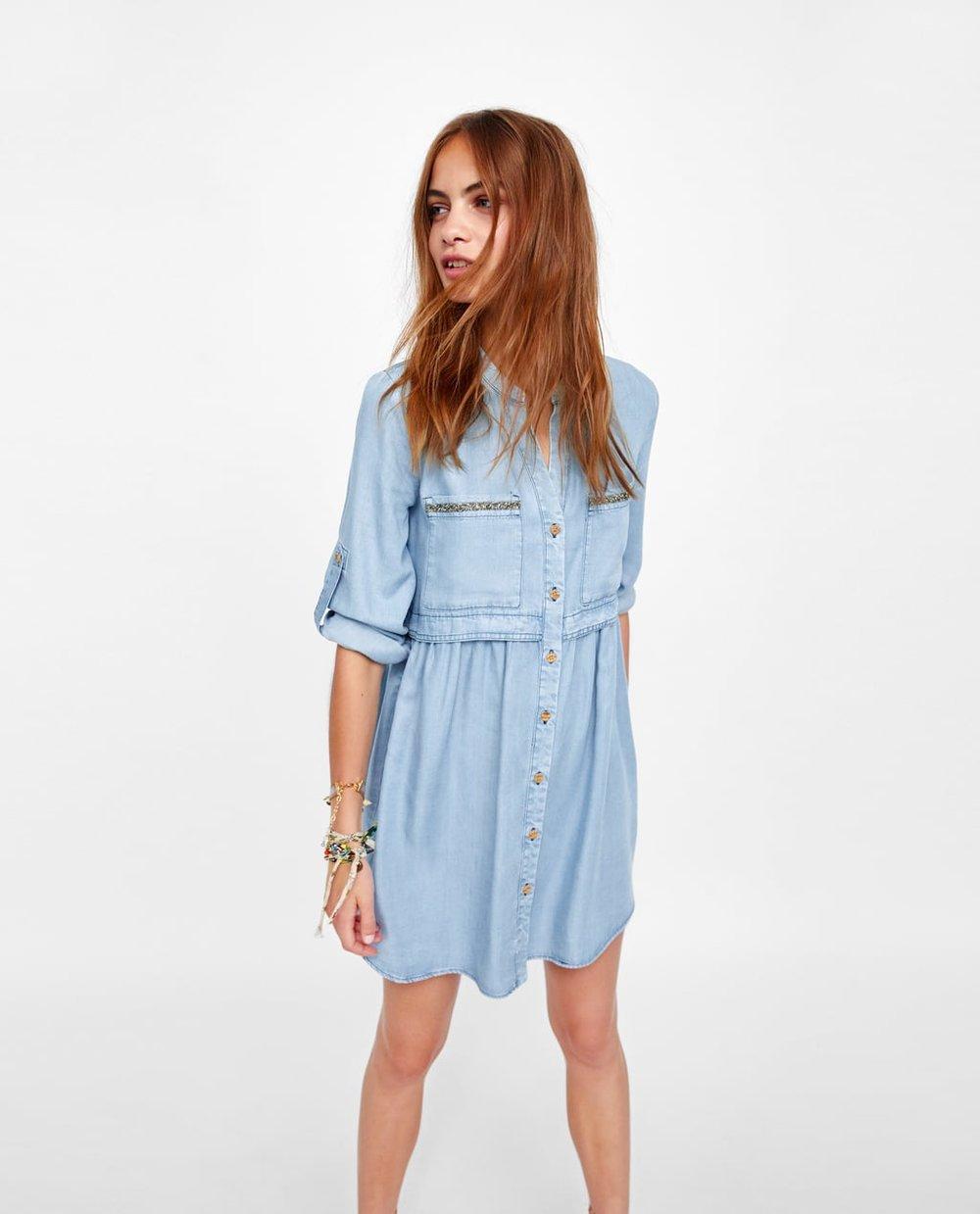 Zara BEJEWELLED SHIRT DRESS