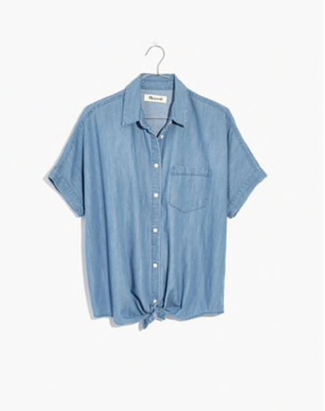 Denim short-sleeve tie-front shirt, Madewell