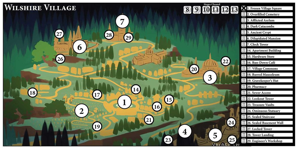 A rough look at the map board, where the players will choose their destinations between battles. The large numbers represent boss stages, while smaller numbers are exploration stages where you might discover new allies or keys to the story.