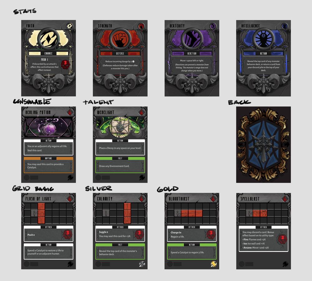 Some previews of work-in-progress card templates for Seventh Cross, courtesy of graphic design lead Laura La Vito.